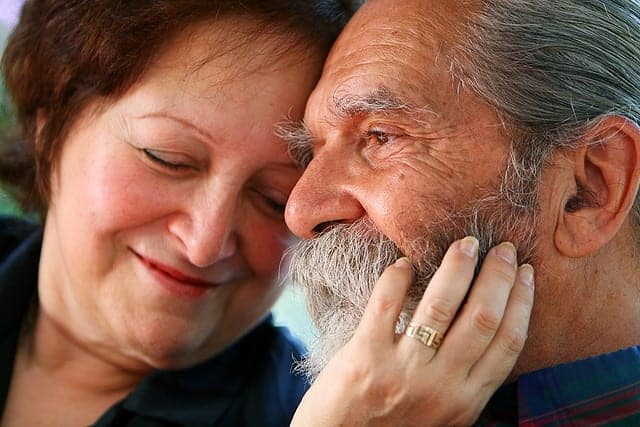 Old couple in love, elderly love