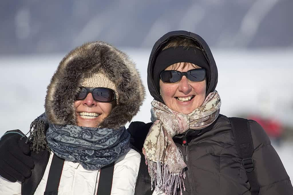 Women in Iceland wearing winter clothing