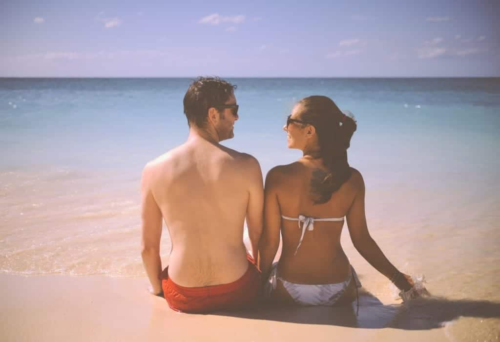 couple in the beach during a holiday