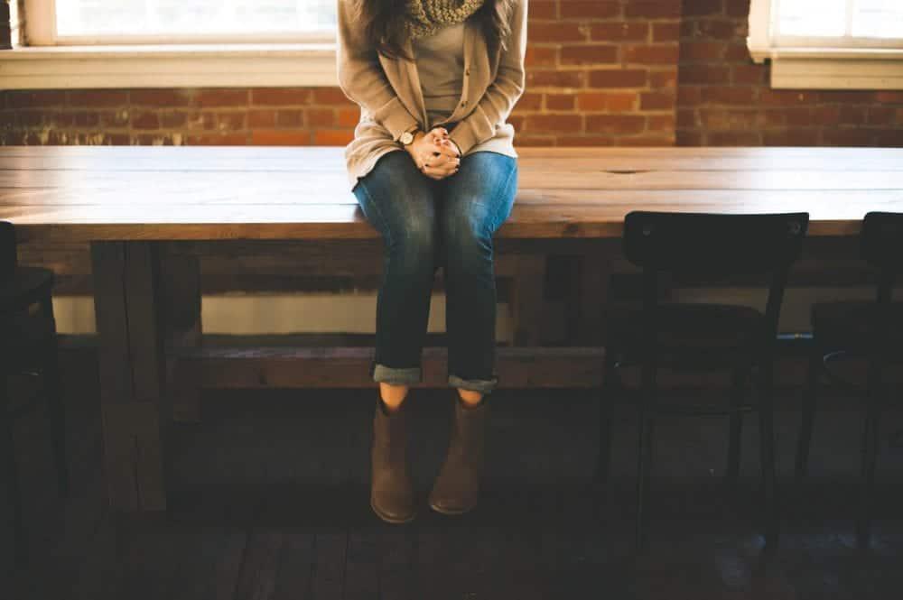 Woman sitting down