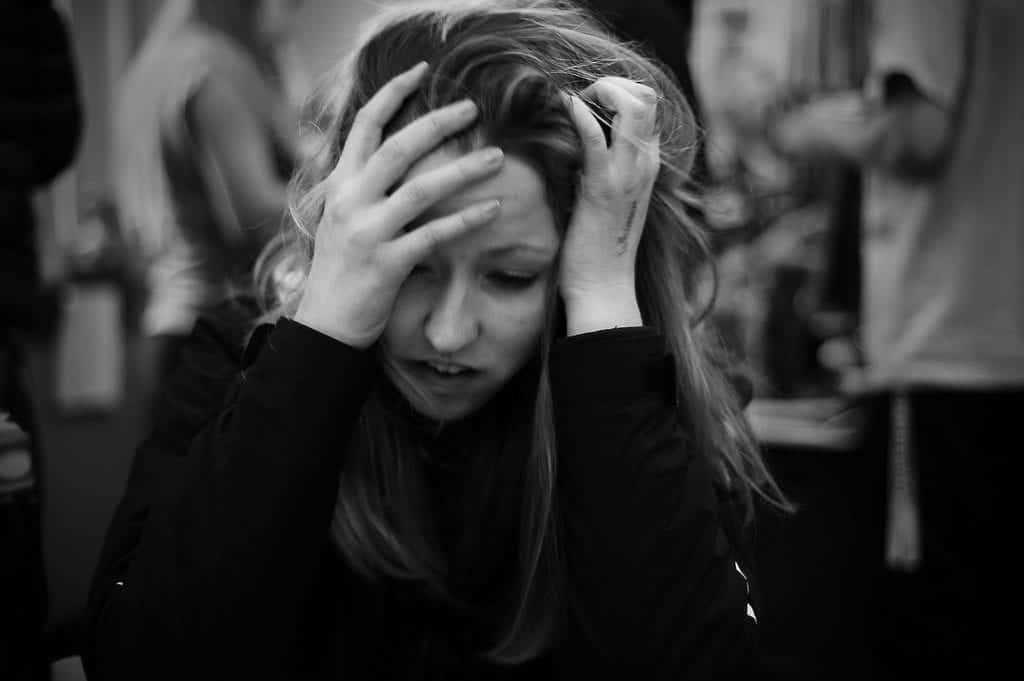 Panicked woman