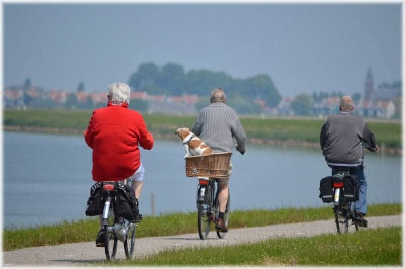 elderly people on their bikes