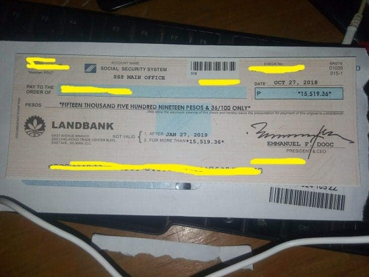 I received my check from the sss - check
